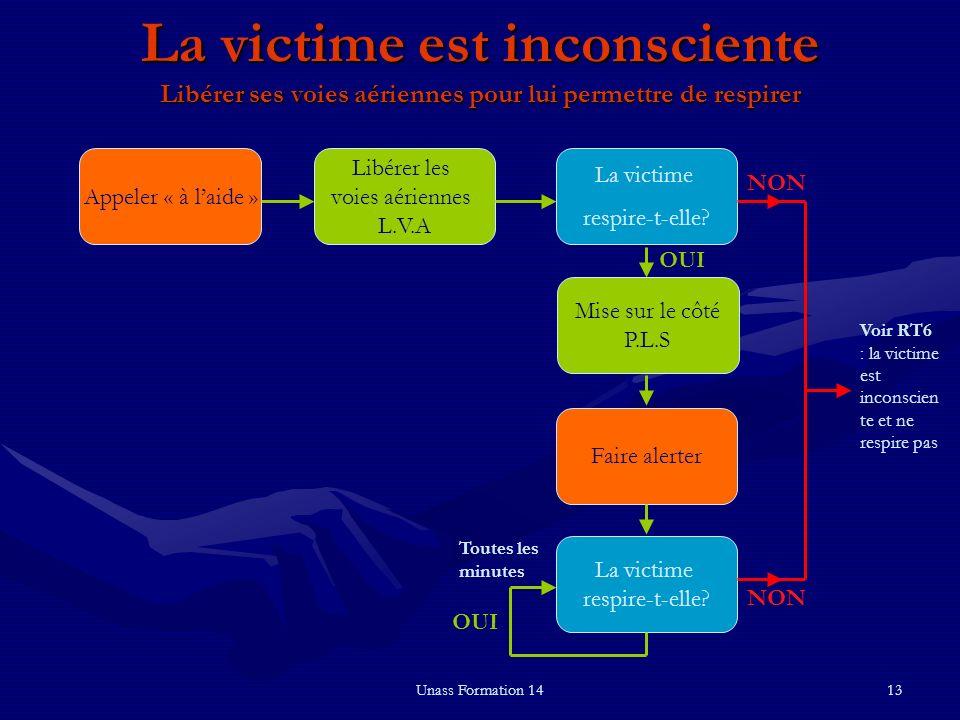Unass Formation 1413 La victime est inconsciente Libérer ses voies aériennes pour lui permettre de respirer La victime respire-t-elle? Mise sur le côt
