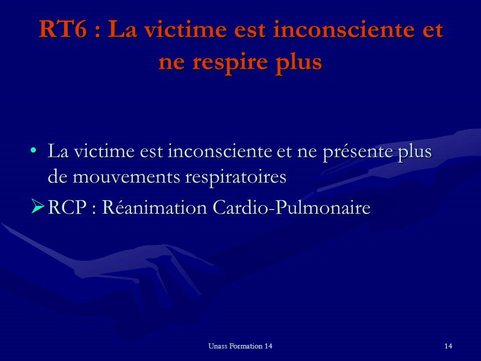 Unass Formation 1414 RT6 : La victime est inconsciente et ne respire plus La victime est inconsciente et ne présente plus de mouvements respiratoiresL
