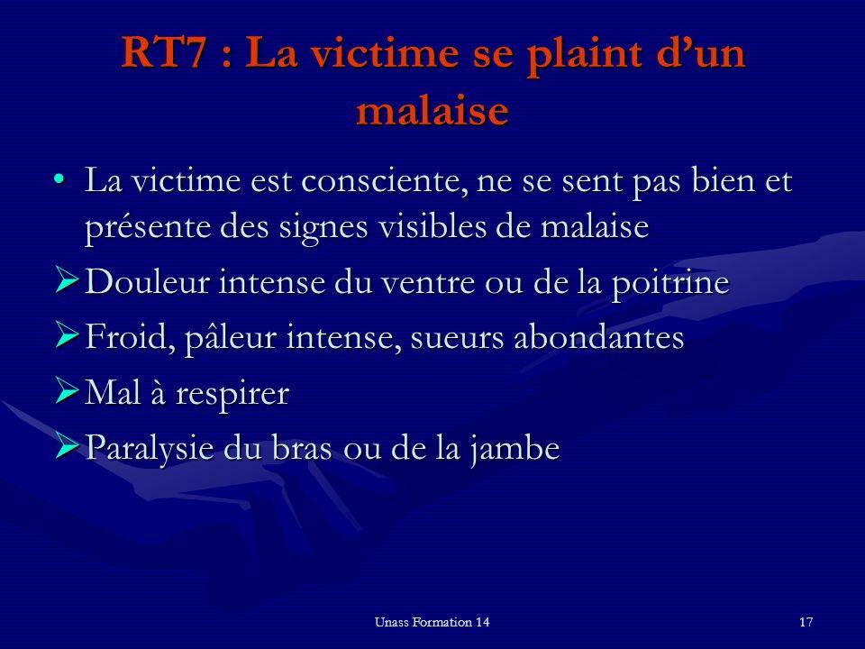 Unass Formation 1417 RT7 : La victime se plaint dun malaise La victime est consciente, ne se sent pas bien et présente des signes visibles de malaiseL