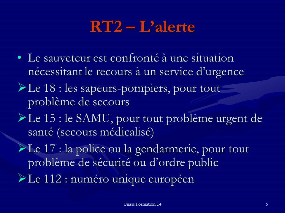 Unass Formation 146 RT2 – Lalerte Le sauveteur est confronté à une situation nécessitant le recours à un service durgenceLe sauveteur est confronté à