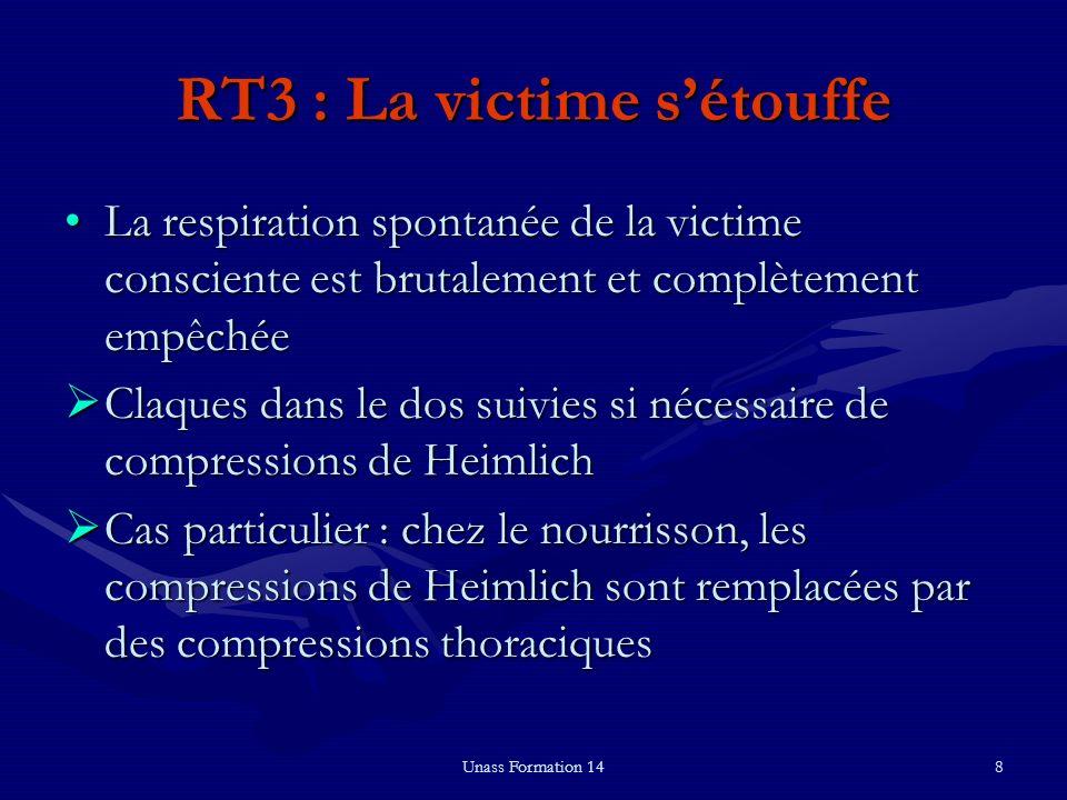 Unass Formation 148 RT3 : La victime sétouffe La respiration spontanée de la victime consciente est brutalement et complètement empêchéeLa respiration