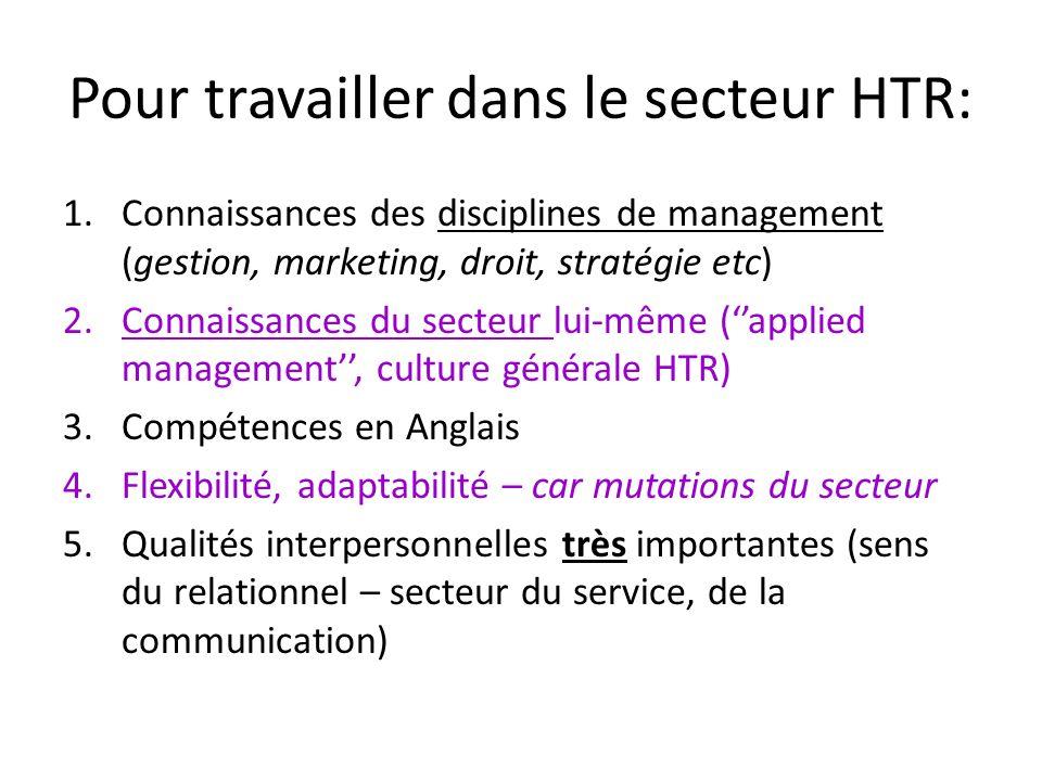 Pour travailler dans le secteur HTR: 1.Connaissances des disciplines de management (gestion, marketing, droit, stratégie etc) 2.Connaissances du secte