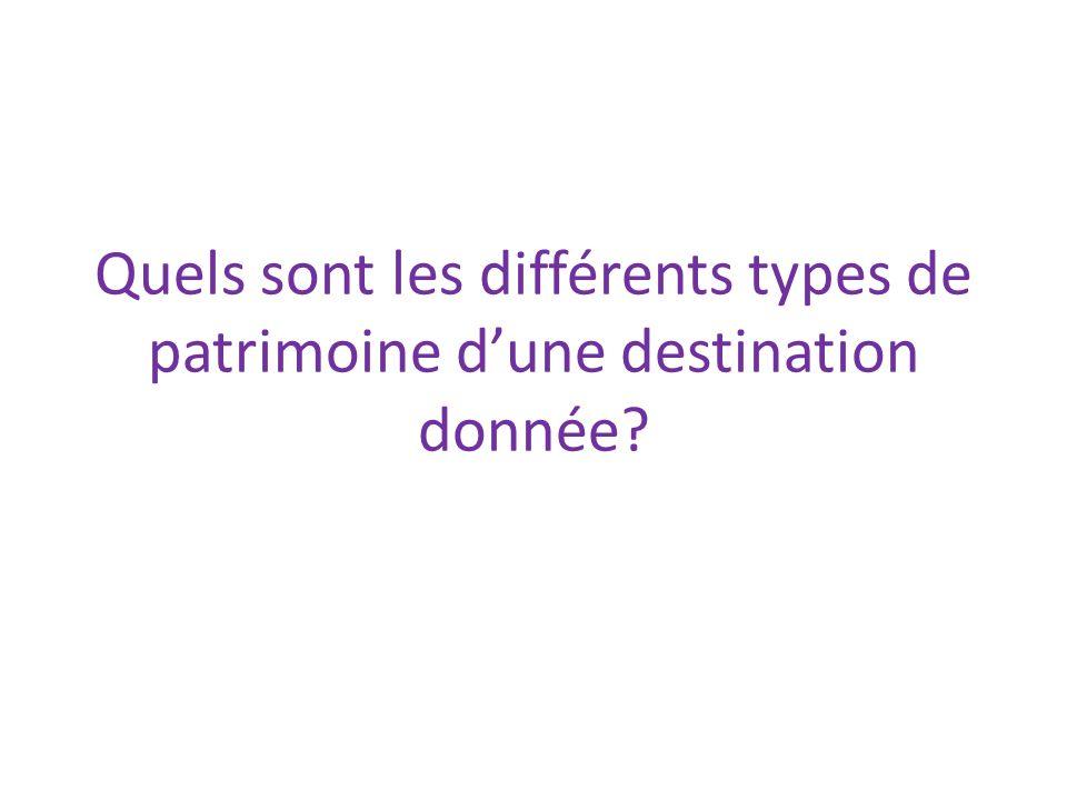 Quels sont les différents types de patrimoine dune destination donnée?