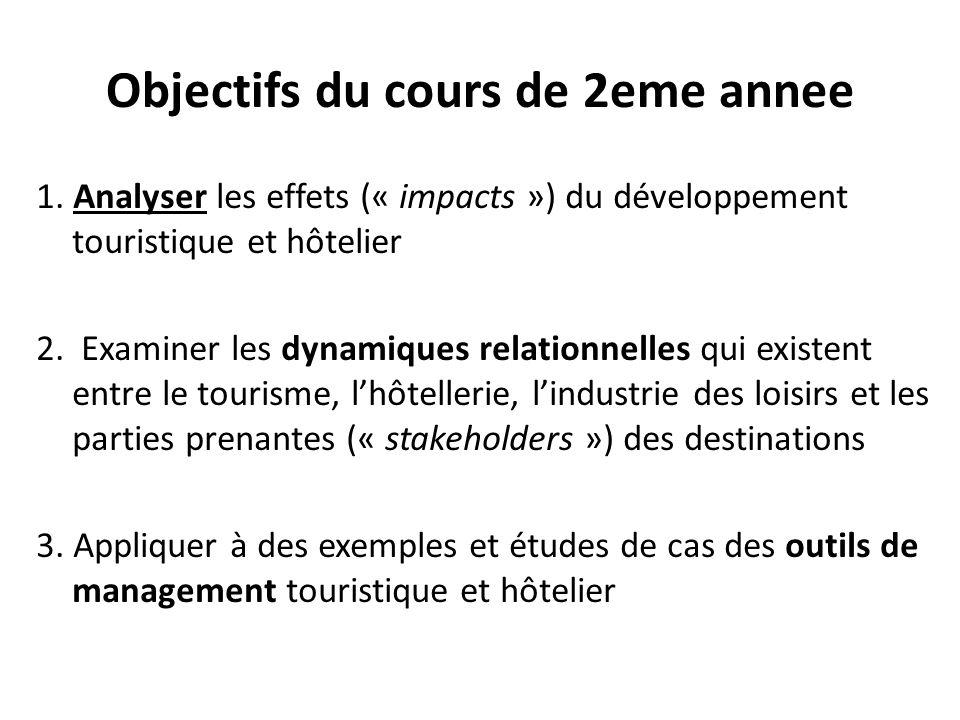 Objectifs du cours de 2eme annee 1. Analyser les effets (« impacts ») du développement touristique et hôtelier 2. Examiner les dynamiques relationnell
