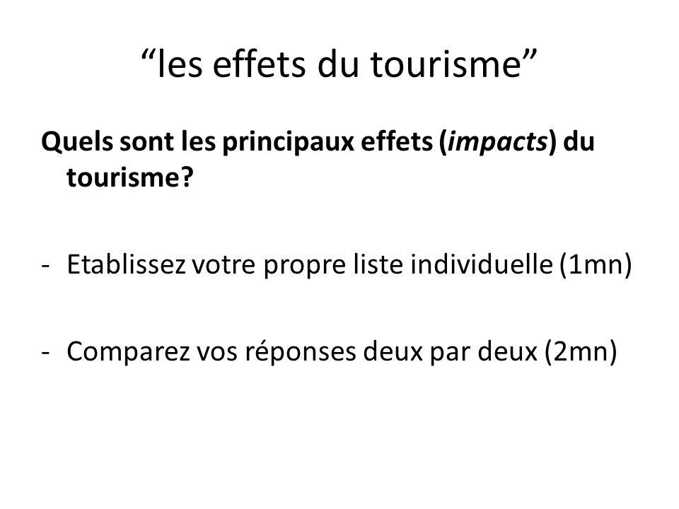 les effets du tourisme Quels sont les principaux effets (impacts) du tourisme? -Etablissez votre propre liste individuelle (1mn) -Comparez vos réponse