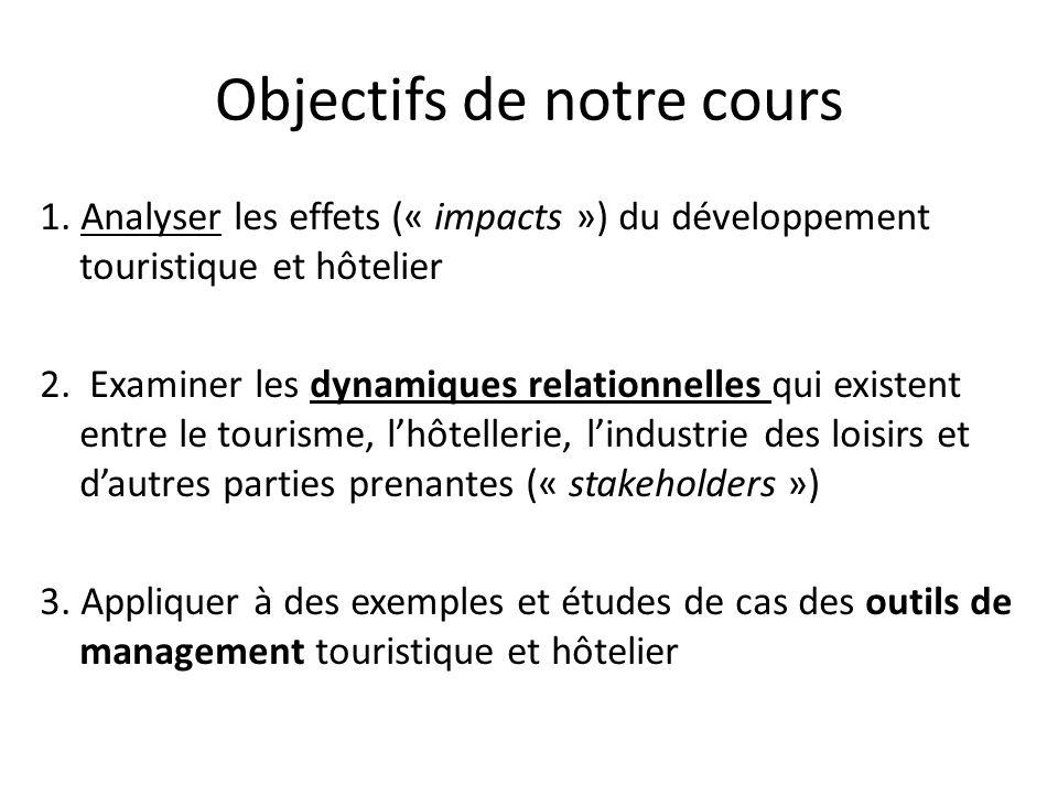 Objectifs de notre cours 1. Analyser les effets (« impacts ») du développement touristique et hôtelier 2. Examiner les dynamiques relationnelles qui e