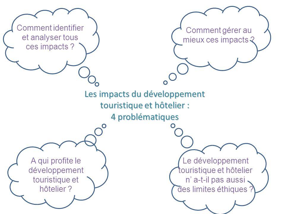 Les impacts du développement touristique et hôtelier : 4 problématiques Comment gérer au mieux ces impacts ? A qui profite le développement touristiqu