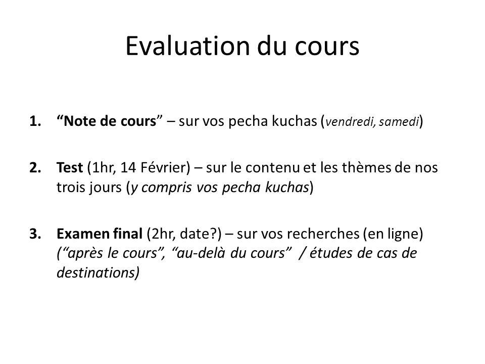 Evaluation du cours 1.Note de cours – sur vos pecha kuchas ( vendredi, samedi ) 2.Test (1hr, 14 Février) – sur le contenu et les thèmes de nos trois j