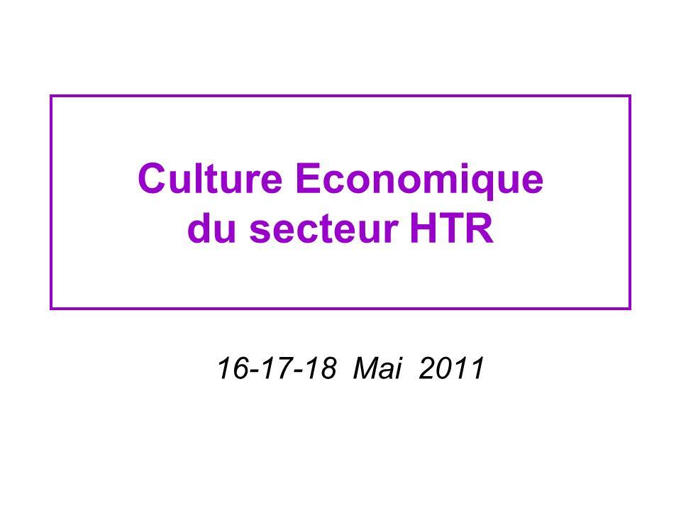 Trois objectifs 1.Découverte de la culture économique du secteur HTR à un niveau conceptuel 2.Découverte de la culture économique du secteur HTR à un niveau professionnel 3.Introduction aux problématiques contemporaines qui affectent le secteur THR