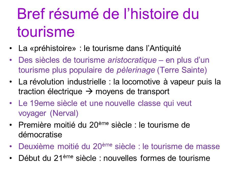 Bref résumé de lhistoire du tourisme La «préhistoire» : le tourisme dans lAntiquité Des siècles de tourisme aristocratique – en plus dun tourisme plus