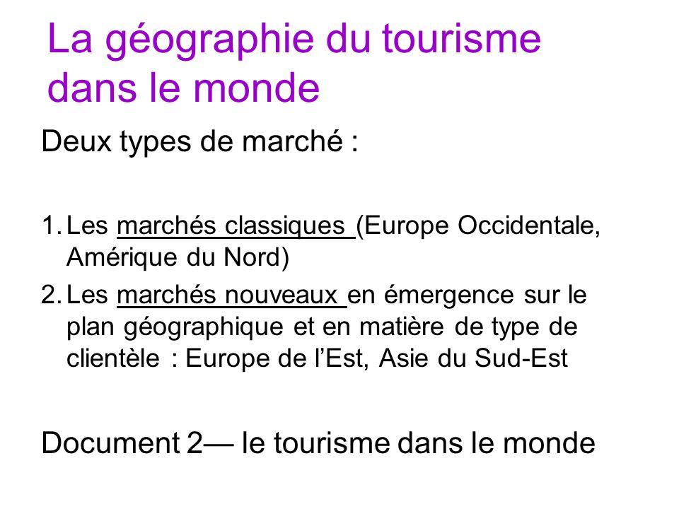 La géographie du tourisme dans le monde Deux types de marché : 1.Les marchés classiques (Europe Occidentale, Amérique du Nord) 2.Les marchés nouveaux