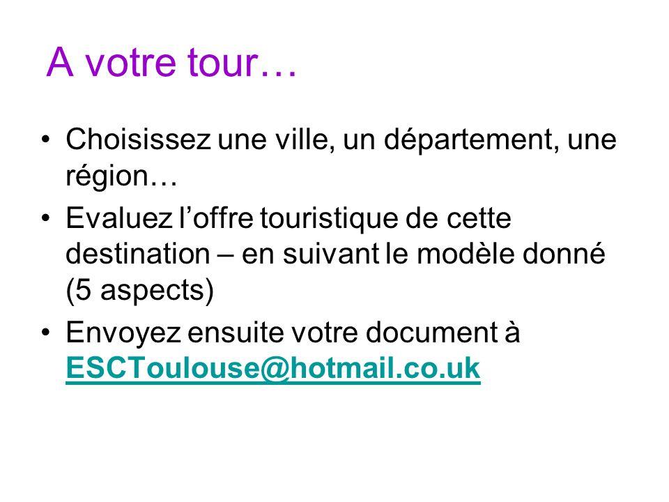 A votre tour… Choisissez une ville, un département, une région… Evaluez loffre touristique de cette destination – en suivant le modèle donné (5 aspect