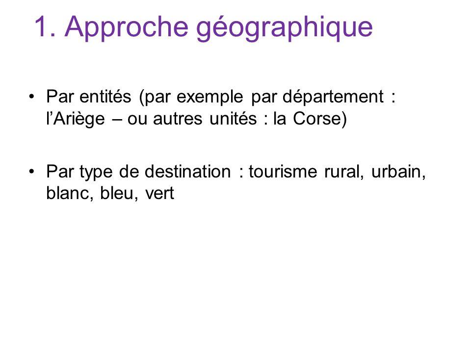 1. Approche géographique Par entités (par exemple par département : lAriège – ou autres unités : la Corse) Par type de destination : tourisme rural, u