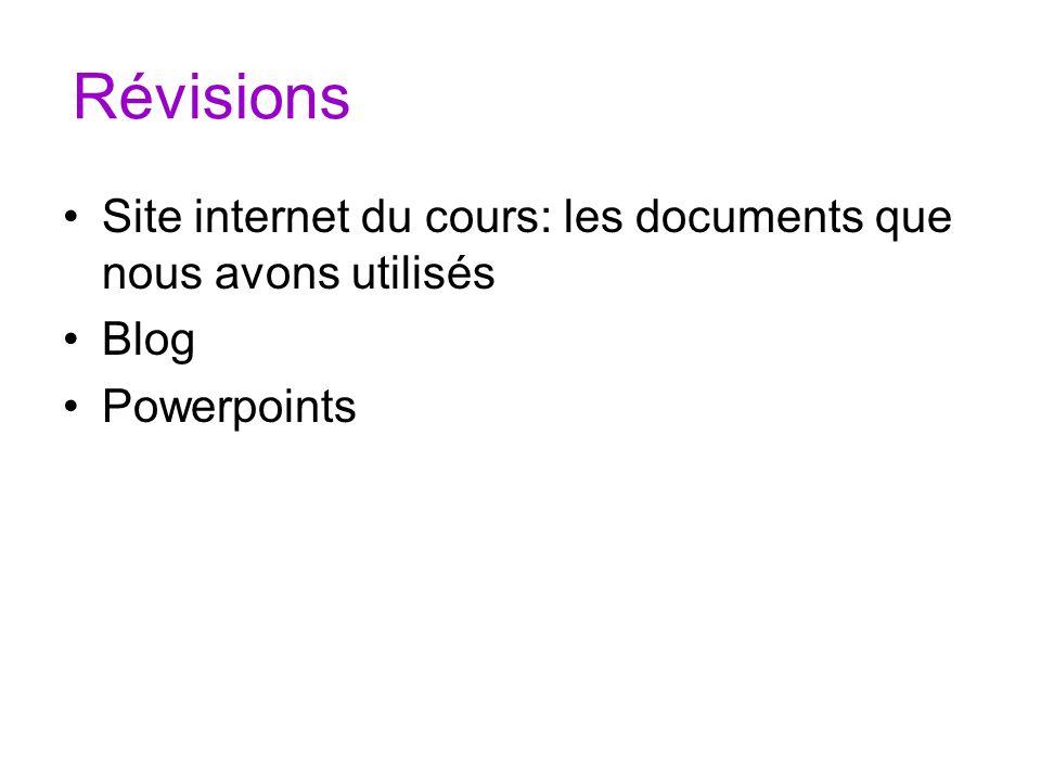 Révisions Site internet du cours: les documents que nous avons utilisés Blog Powerpoints