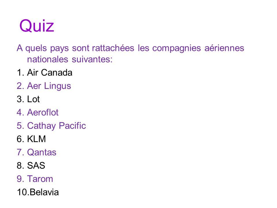 Quiz A quels pays sont rattachées les compagnies aériennes nationales suivantes: 1.Air Canada 2.Aer Lingus 3.Lot 4.Aeroflot 5.Cathay Pacific 6.KLM 7.Q