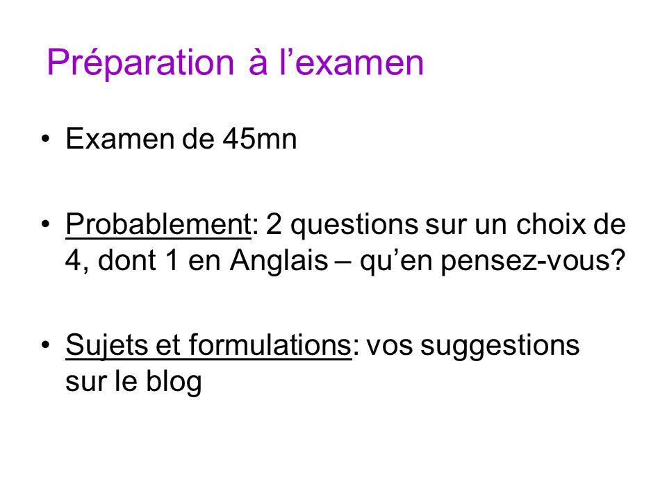 Préparation à lexamen Examen de 45mn Probablement: 2 questions sur un choix de 4, dont 1 en Anglais – quen pensez-vous? Sujets et formulations: vos su