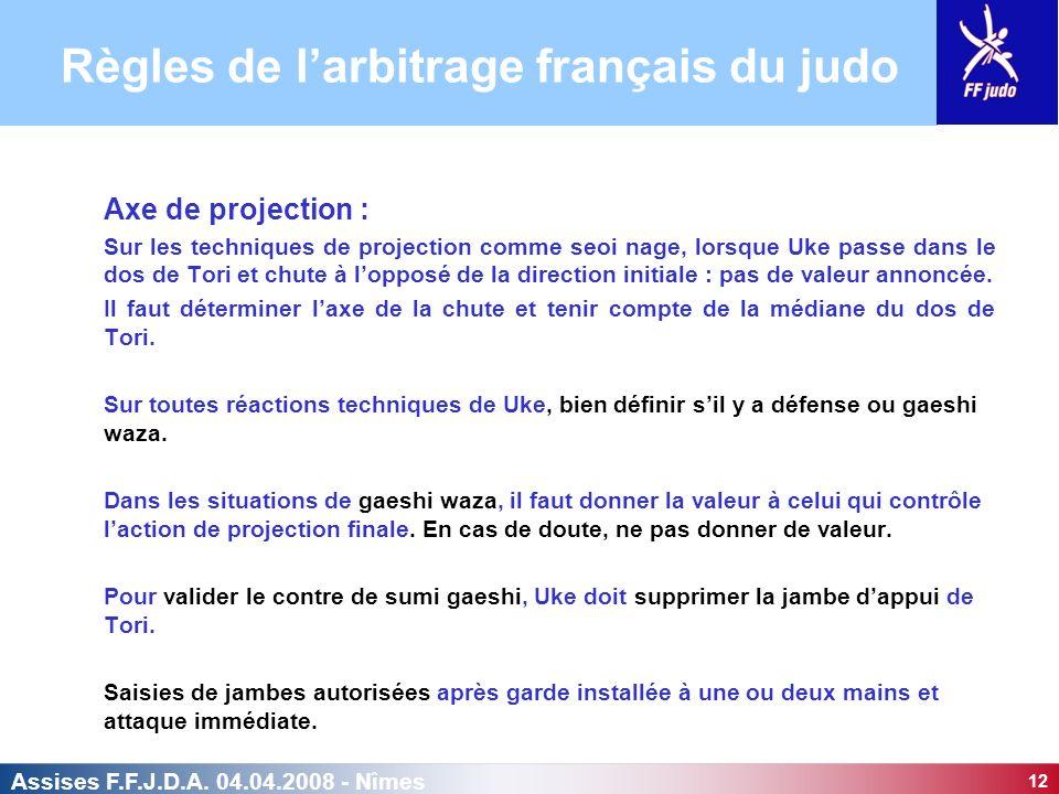 12 Assises F.F.J.D.A. 04.04.2008 - Nîmes Axe de projection : Sur les techniques de projection comme seoi nage, lorsque Uke passe dans le dos de Tori e