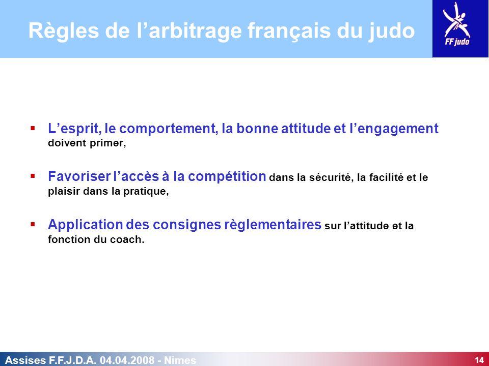14 Assises F.F.J.D.A. 04.04.2008 - Nîmes Lesprit, le comportement, la bonne attitude et lengagement doivent primer, Favoriser laccès à la compétition