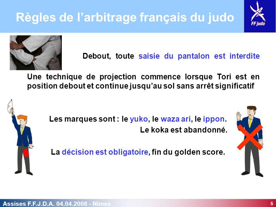 5 Assises F.F.J.D.A. 04.04.2008 - Nîmes Debout, toute saisie du pantalon est interdite Une technique de projection commence lorsque Tori est en positi