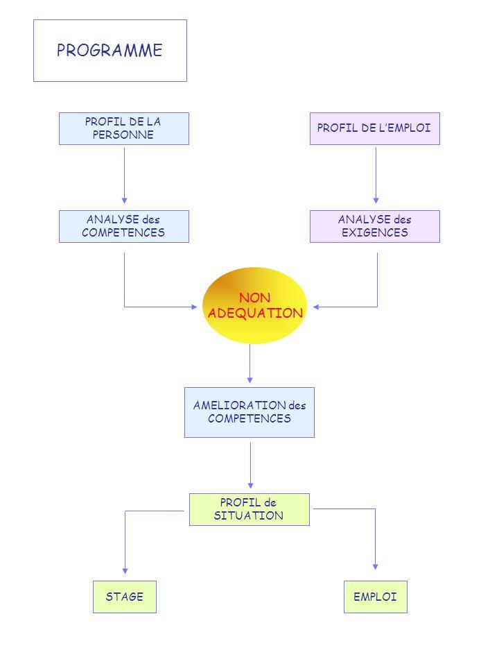 PROGRAMME PROFIL DE LA PERSONNE PROFIL DE LEMPLOI ANALYSE des COMPETENCES ANALYSE des EXIGENCES PROFIL de SITUATION STAGEEMPLOI AMELIORATION des COMPE