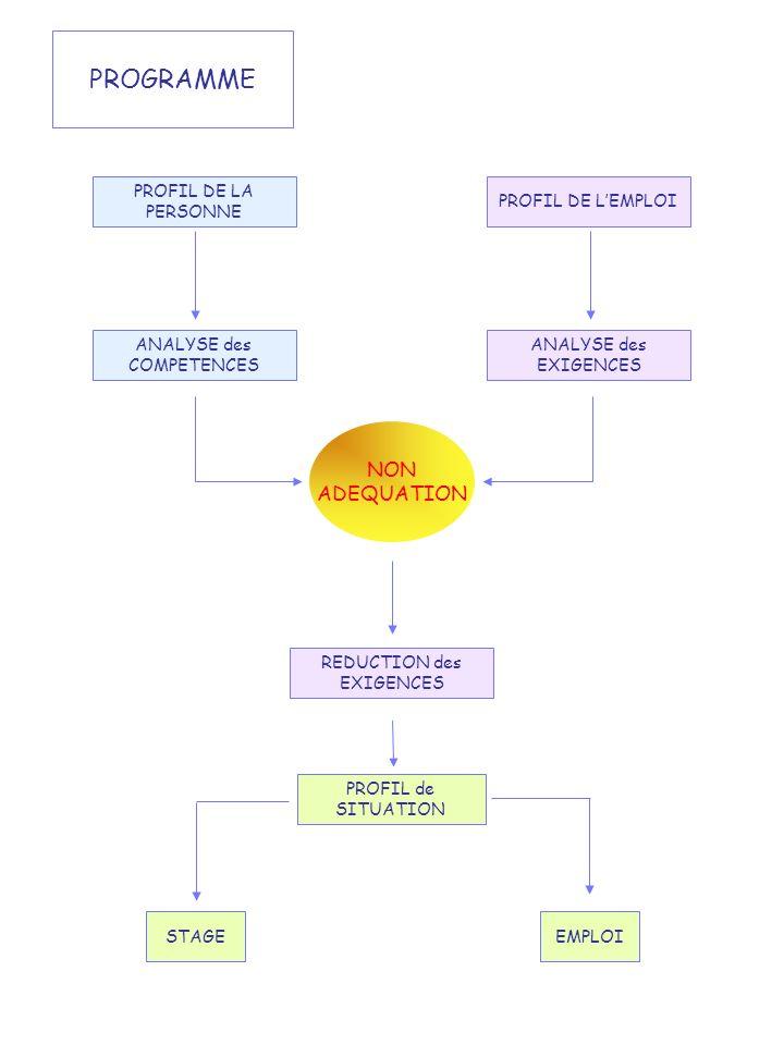 PROGRAMME PROFIL DE LA PERSONNE PROFIL DE LEMPLOI ANALYSE des COMPETENCES ANALYSE des EXIGENCES PROFIL de SITUATION STAGEEMPLOI REDUCTION des EXIGENCE