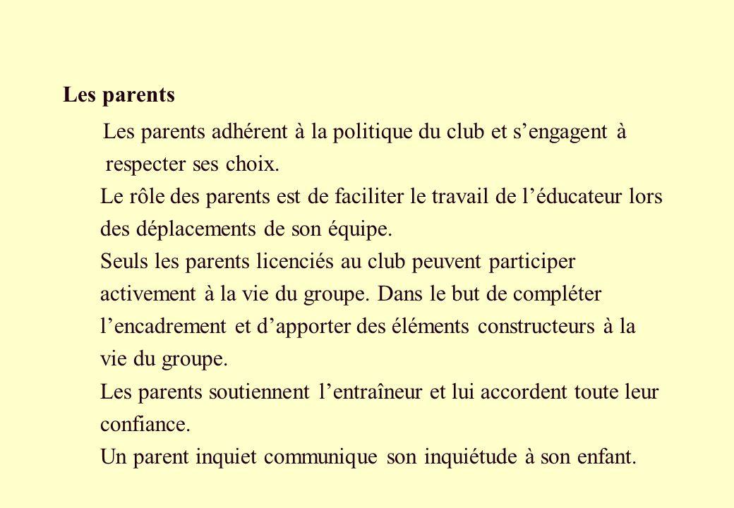 Les parents Les parents adhérent à la politique du club et sengagent à respecter ses choix. Le rôle des parents est de faciliter le travail de léducat