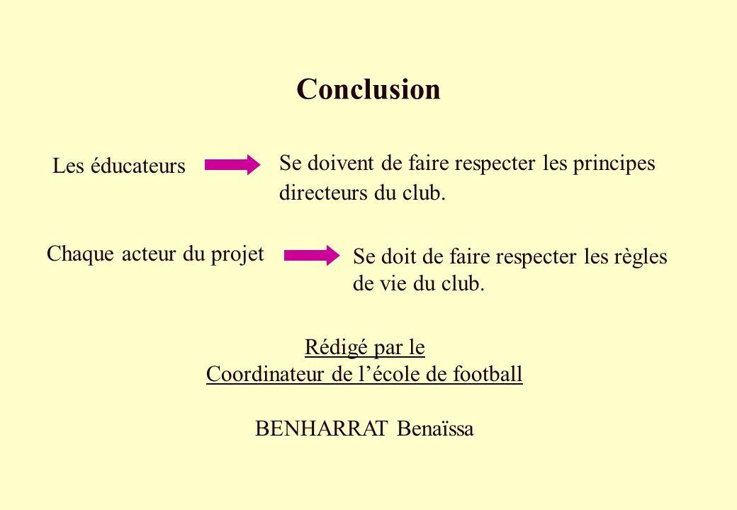 Conclusion Se doivent de faire respecter les principes directeurs du club. Chaque acteur du projet Rédigé par le Coordinateur de lécole de football BE