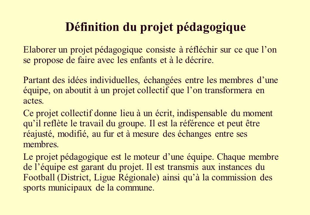 Définition du projet pédagogique Elaborer un projet pédagogique consiste à réfléchir sur ce que lon se propose de faire avec les enfants et à le décri