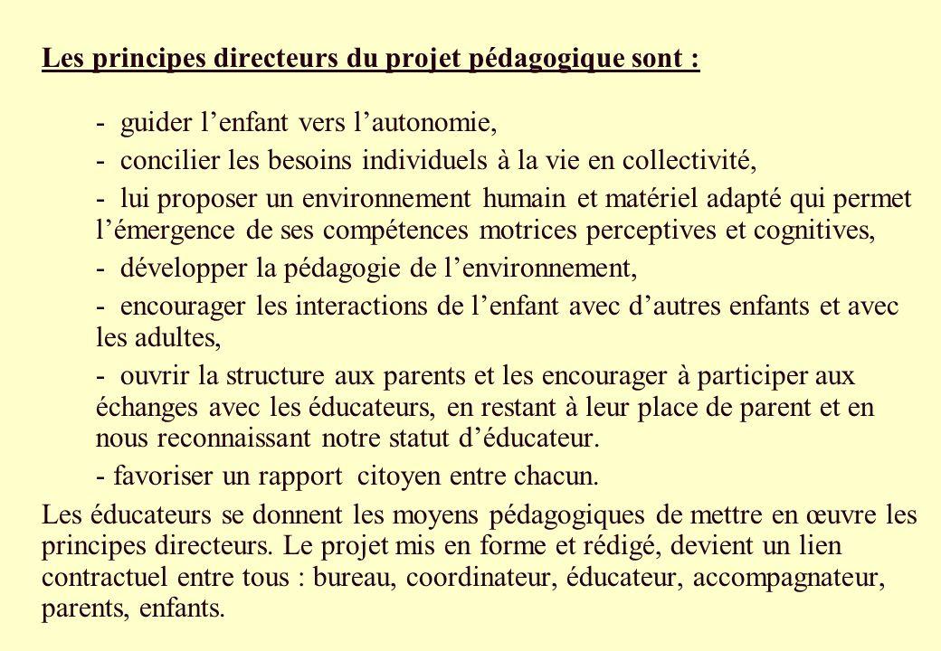 Les principes directeurs du projet pédagogique sont : - guider lenfant vers lautonomie, - concilier les besoins individuels à la vie en collectivité,
