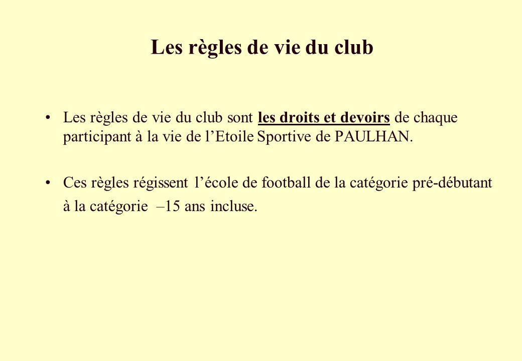 Les règles de vie du club Les règles de vie du club sont les droits et devoirs de chaque participant à la vie de lEtoile Sportive de PAULHAN. Ces règl