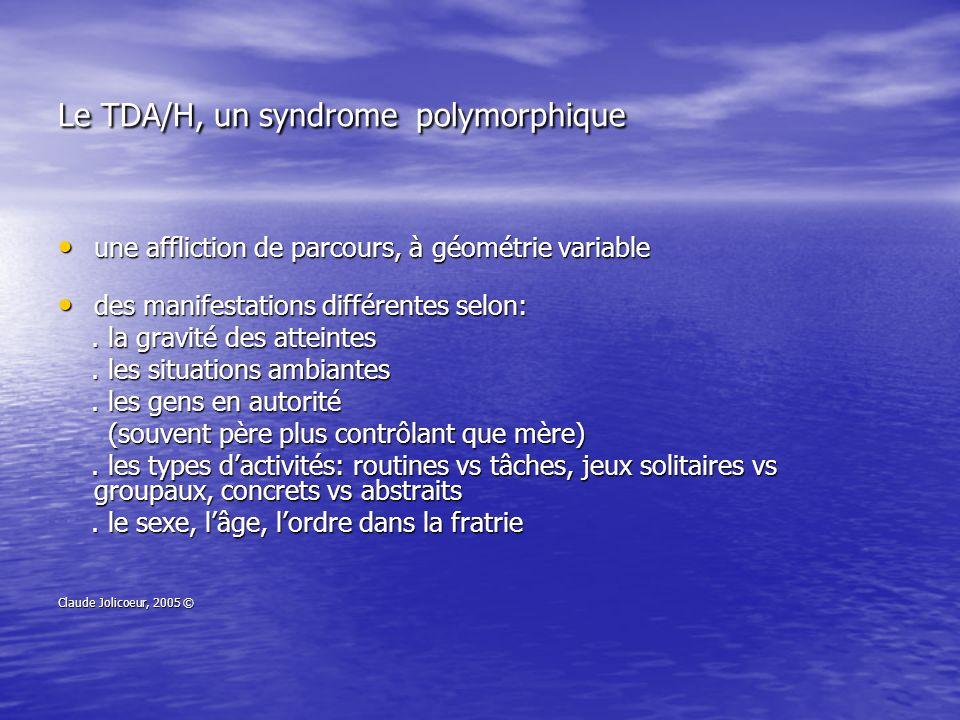 Le TDA/H, un syndrome polymorphique une affliction de parcours, à géométrie variable une affliction de parcours, à géométrie variable des manifestatio