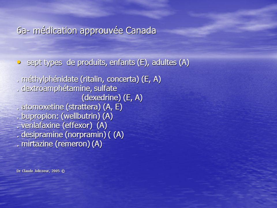 6a- médication approuvée Canada sept types de produits, enfants (E), adultes (A) sept types de produits, enfants (E), adultes (A). méthylphénidate (ri
