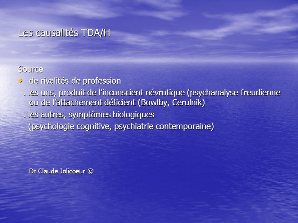 Les causalités TDA/H Source de rivalités de profession de rivalités de profession. les uns, produit de linconscient névrotique (psychanalyse freudienn