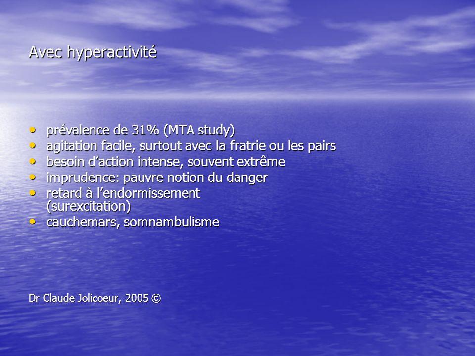 Avec hyperactivité prévalence de 31% (MTA study) prévalence de 31% (MTA study) agitation facile, surtout avec la fratrie ou les pairs agitation facile