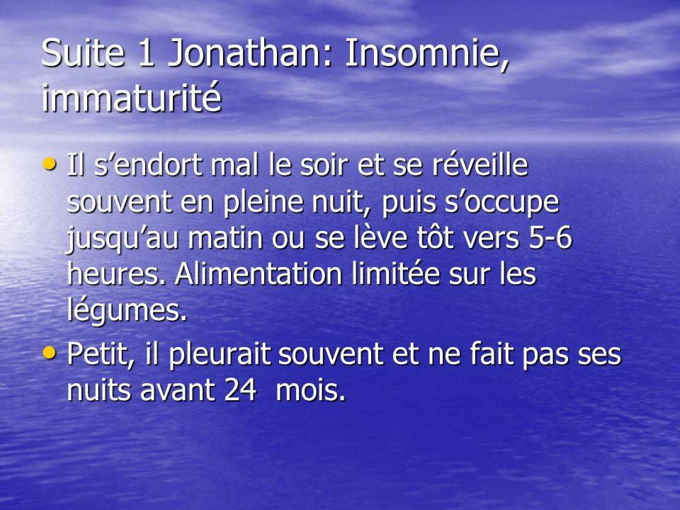 Suite 1 Jonathan: Insomnie, immaturité Il sendort mal le soir et se réveille souvent en pleine nuit, puis soccupe jusquau matin ou se lève tôt vers 5-