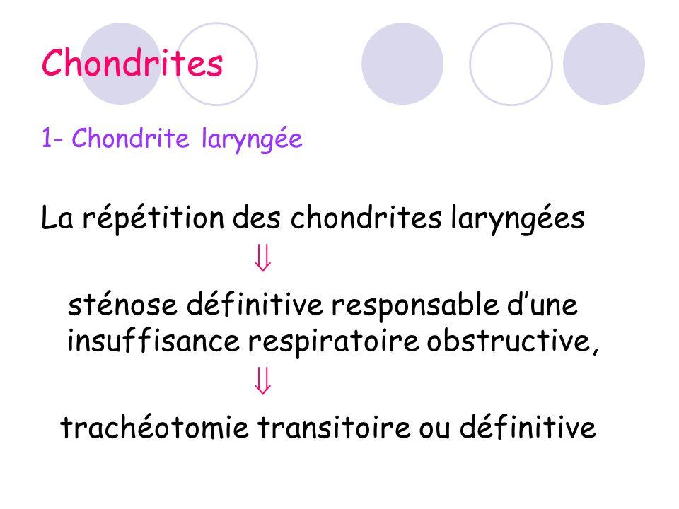 Chondrites 1- Chondrite laryngée La répétition des chondrites laryngées sténose définitive responsable dune insuffisance respiratoire obstructive, tra