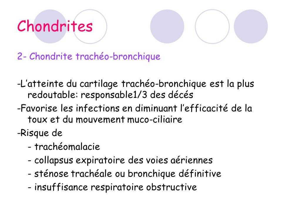 Chondrites 2- Chondrite trachéo-bronchique -Latteinte du cartilage trachéo-bronchique est la plus redoutable: responsable1/3 des décés -Favorise les i