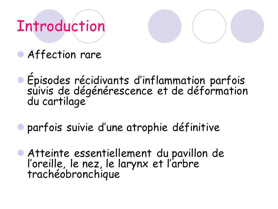 Introduction Affection rare Épisodes récidivants dinflammation parfois suivis de dégénérescence et de déformation du cartilage parfois suivie dune atr