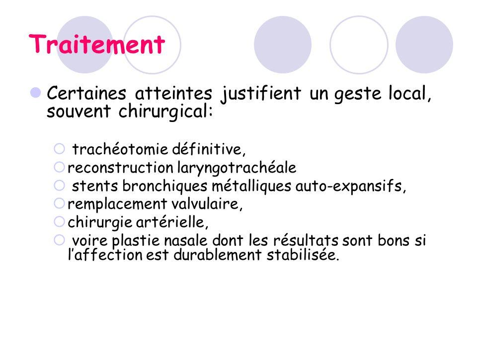 Traitement Certaines atteintes justifient un geste local, souvent chirurgical: trachéotomie définitive, reconstruction laryngotrachéale stents bronchi