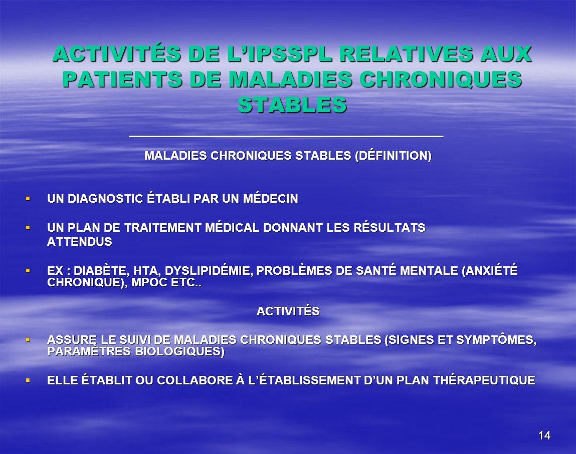 14 ACTIVITÉS DE LIPSSPL RELATIVES AUX PATIENTS DE MALADIES CHRONIQUES STABLES MALADIES CHRONIQUES STABLES (DÉFINITION) UN DIAGNOSTIC ÉTABLI PAR UN MÉD