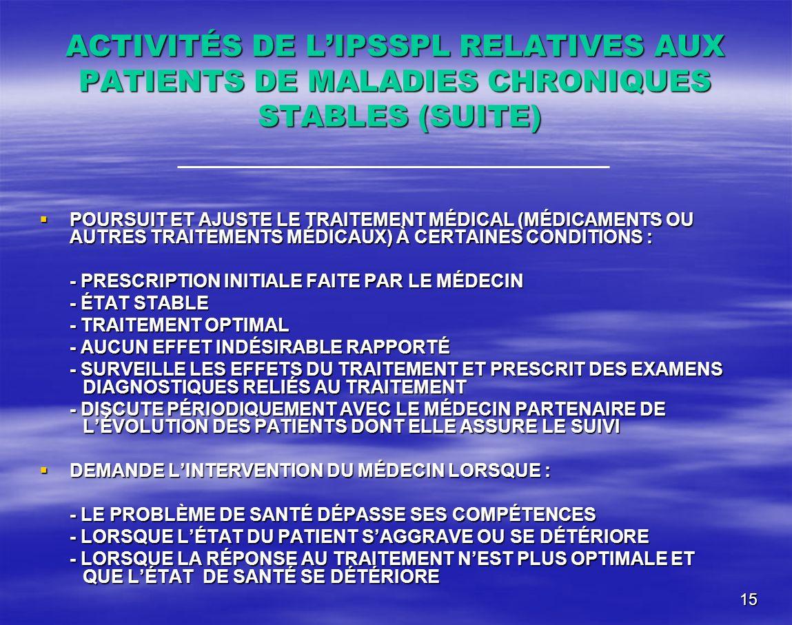 15 ACTIVITÉS DE LIPSSPL RELATIVES AUX PATIENTS DE MALADIES CHRONIQUES STABLES (SUITE) POURSUIT ET AJUSTE LE TRAITEMENT MÉDICAL (MÉDICAMENTS OU AUTRES