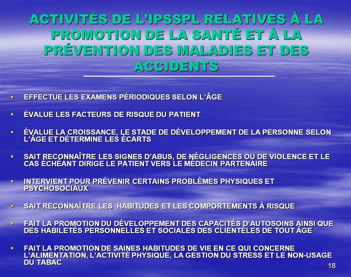 18 ACTIVITÉS DE LIPSSPL RELATIVES À LA PROMOTION DE LA SANTÉ ET À LA PRÉVENTION DES MALADIES ET DES ACCIDENTS EFFECTUE LES EXAMENS PÉRIODIQUES SELON L