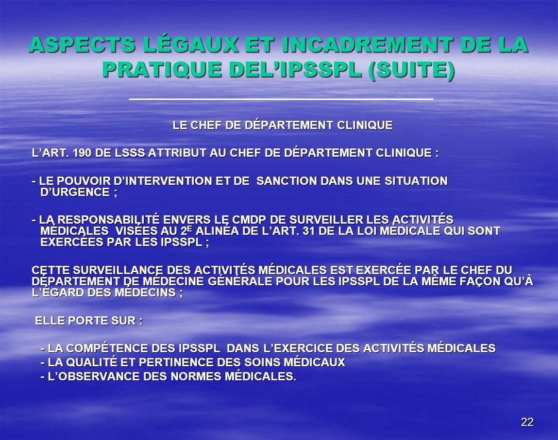 22 ASPECTS LÉGAUX ET INCADREMENT DE LA PRATIQUE DELIPSSPL (SUITE) LE CHEF DE DÉPARTEMENT CLINIQUE LART. 190 DE LSSS ATTRIBUT AU CHEF DE DÉPARTEMENT CL