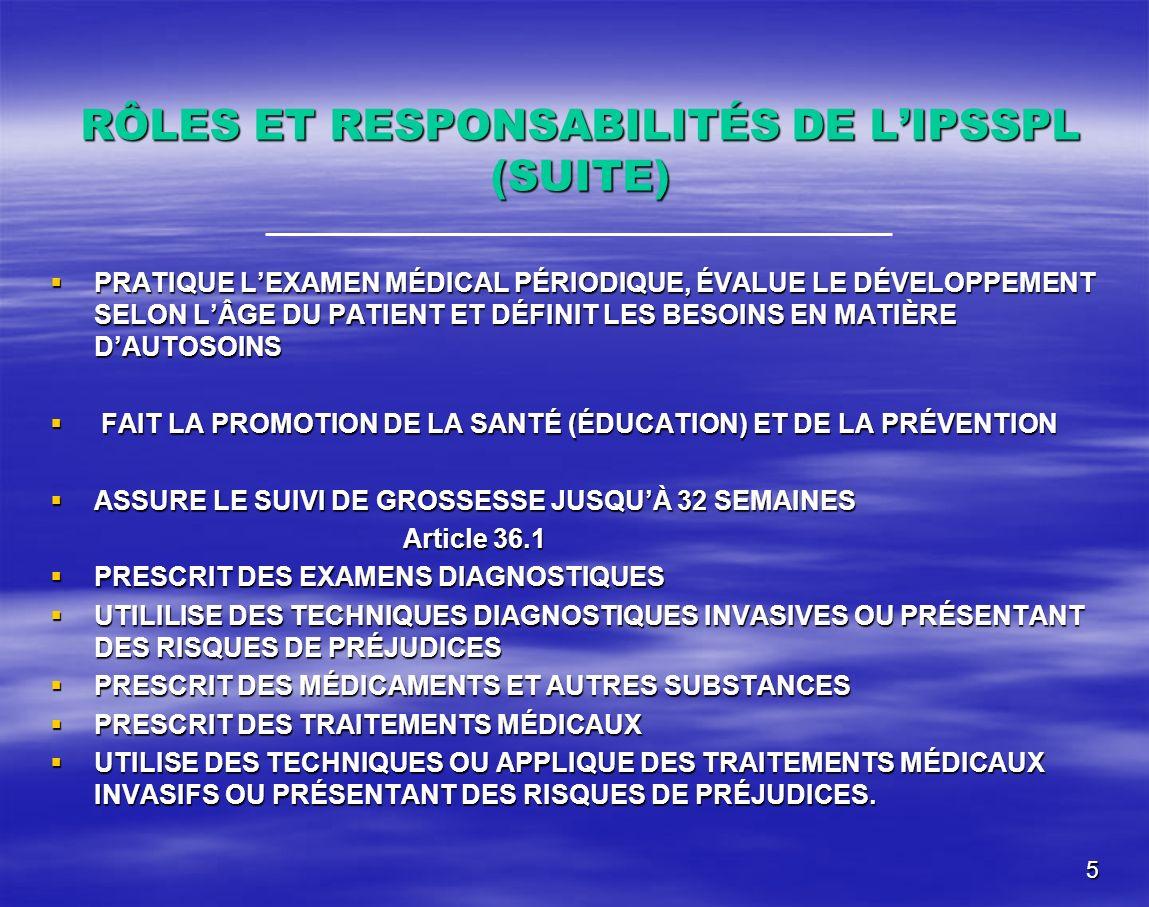 5 RÔLES ET RESPONSABILITÉS DE LIPSSPL (SUITE) PRATIQUE LEXAMEN MÉDICAL PÉRIODIQUE, ÉVALUE LE DÉVELOPPEMENT SELON LÂGE DU PATIENT ET DÉFINIT LES BESOIN