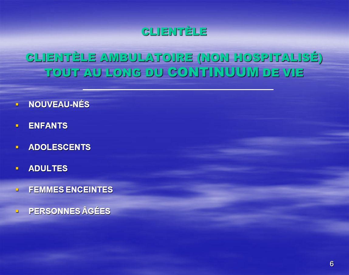 6 CLIENTÈLE CLIENTÈLE AMBULATOIRE (NON HOSPITALISÉ) TOUT AU LONG DU CONTINUUM DE VIE NOUVEAU-NÉS NOUVEAU-NÉS ENFANTS ENFANTS ADOLESCENTS ADOLESCENTS A