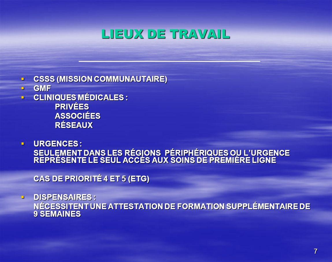 7 LIEUX DE TRAVAIL CSSS (MISSION COMMUNAUTAIRE) CSSS (MISSION COMMUNAUTAIRE) GMF GMF CLINIQUES MÉDICALES : CLINIQUES MÉDICALES :PRIVÉESASSOCIÉESRÉSEAU