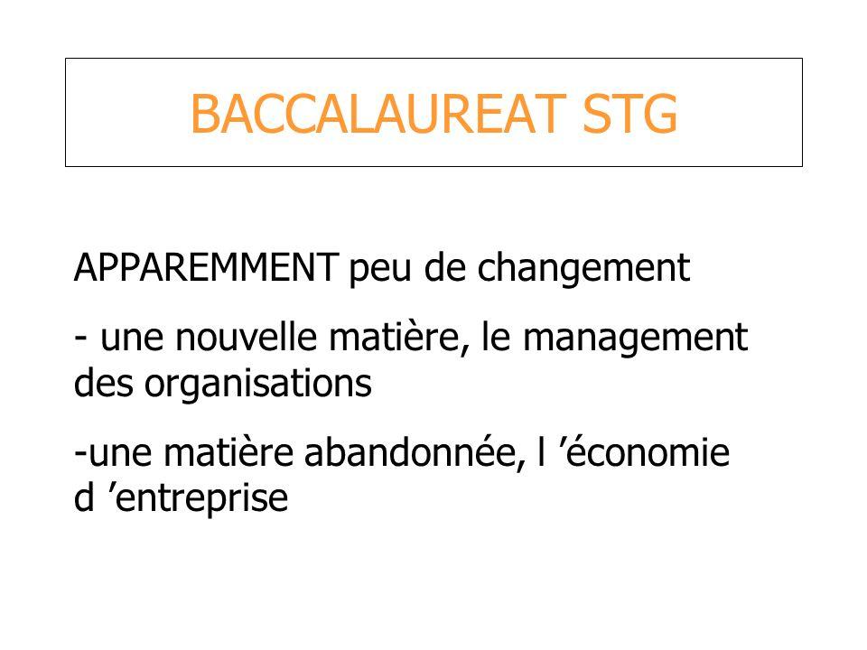 BACCALAUREAT STG APPAREMMENT peu de changement - une nouvelle matière, le management des organisations -une matière abandonnée, l économie d entrepris