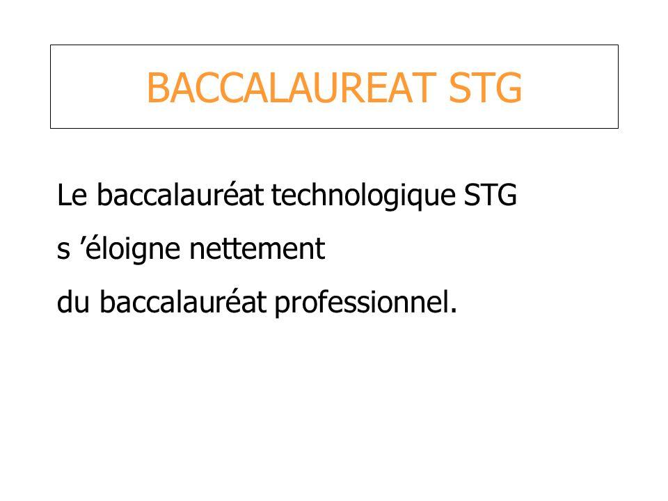 BACCALAUREAT STG Le baccalauréat technologique STG s éloigne nettement du baccalauréat professionnel.