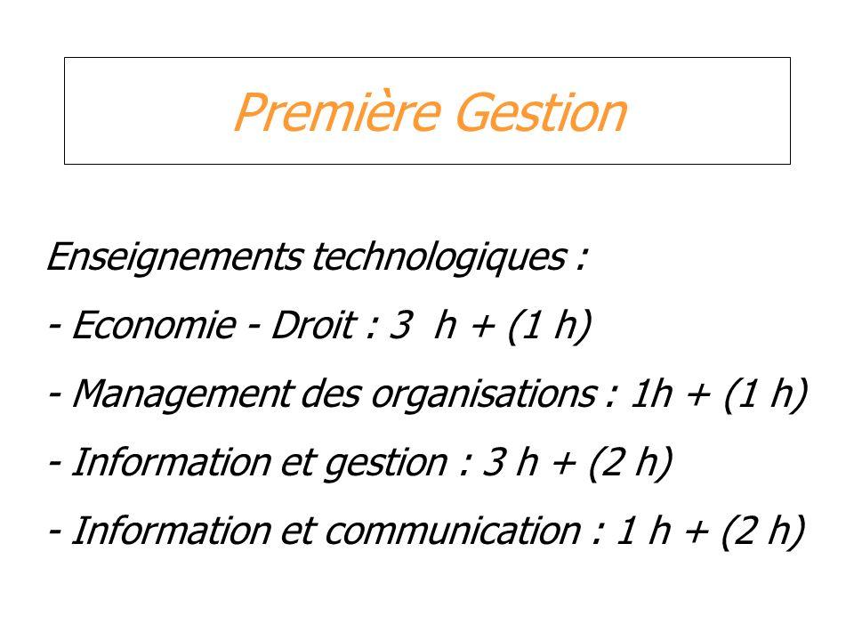 Première Gestion Enseignements technologiques : - Economie - Droit : 3 h + (1 h) - Management des organisations : 1h + (1 h) - Information et gestion