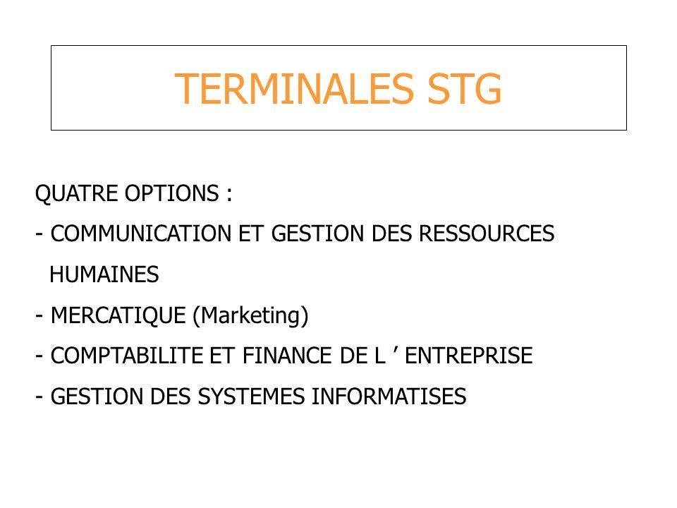 TERMINALES STG QUATRE OPTIONS : - COMMUNICATION ET GESTION DES RESSOURCES HUMAINES - MERCATIQUE (Marketing) - COMPTABILITE ET FINANCE DE L ENTREPRISE
